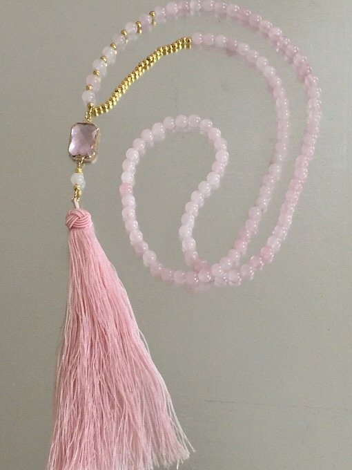 Rose Quartz & Tassel Necklace