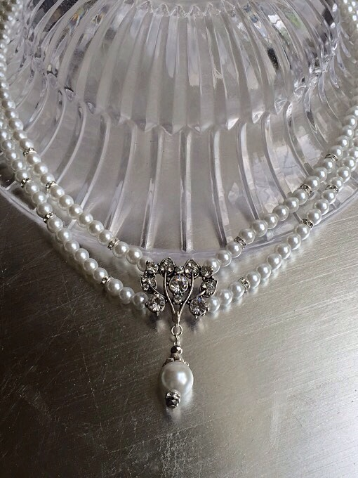 Vintage & Pearl Pendant Necklace