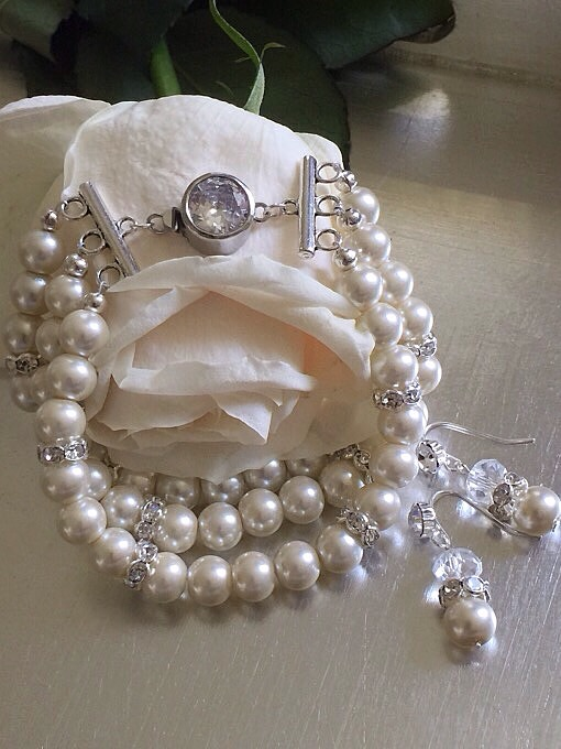Custom Ivory Pearl & Rondelle Matching Set