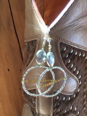 Silver & Amber Hoop Earrings