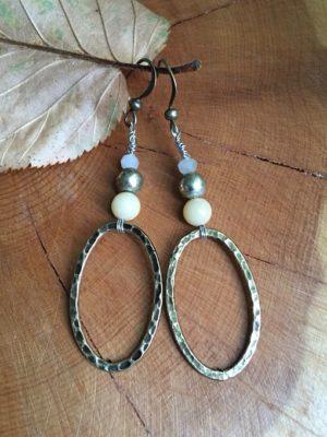 Jade & Hammered Hoop Earrings