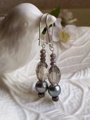 Dove Gray Dangle Earrings