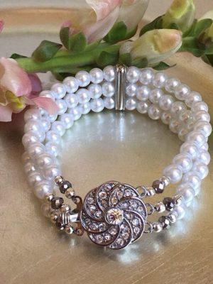Rosette & White Pearl Bracelet