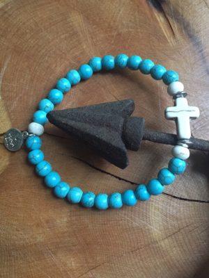 Ivory Cross & Turquoise Blue Bracelet