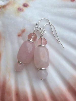 Rose Quartz & Glass Earrings