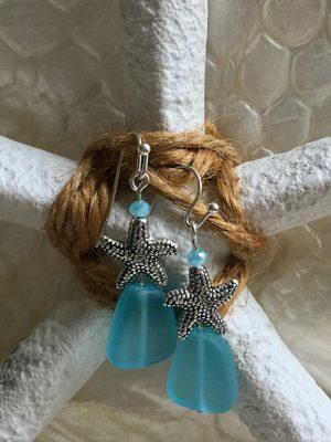 Sea Glass & Starfish Earrings