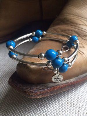 Silver & Blue Wrap Bracelet